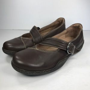 Sanita Brown Leather Mary Jane Strap Shoes Comfort